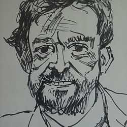Rolf Harris drawing of Spencer Leigh, 1988